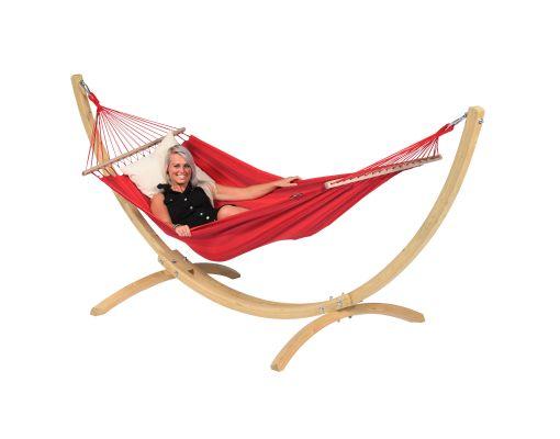Hamak ze stojakiem Jednoosobowy 'Wood & Relax' Red