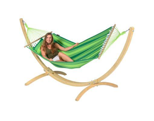 Hamak ze stojakiem Jednoosobowy 'Wood & Relax' Green